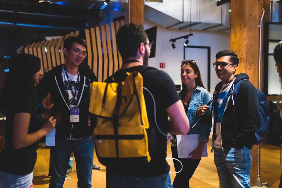 Campus Expert talking to group